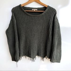 Cozy Casual Dark Green Soft Knit Cropped Sweater